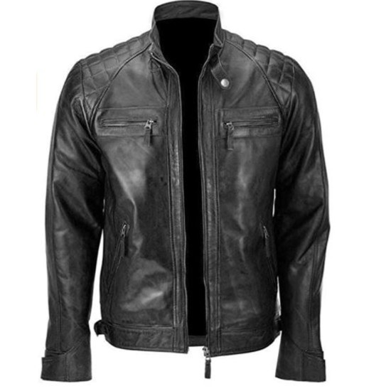 Men's Skull Quilted Embossed Leather Jacket