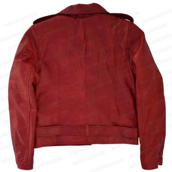 Emilia Clarke Last Christmas Red Leather Jacket