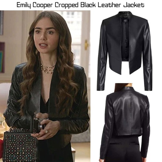 Emily in Paris Lily Collins Cropped Black Leather Jacket