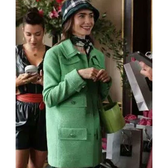 Emily in Paris Lily Collins Sea Green Wool Coat