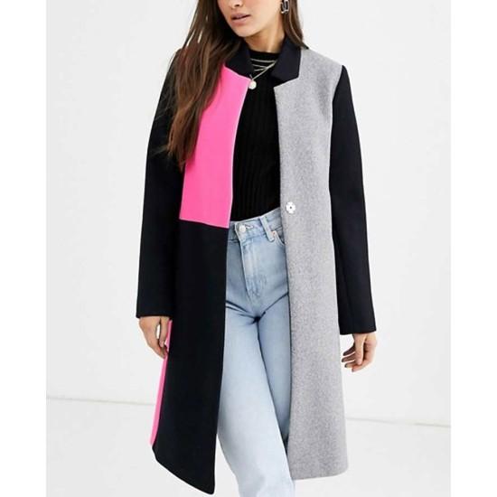 Emily in Paris Lily Collins Color Block Wool Coat
