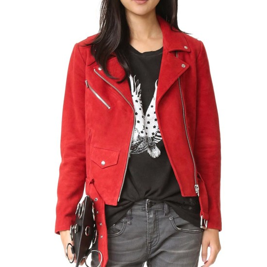 Jennifer Morrison Once Upon A Time Red Suede Leather Jacket