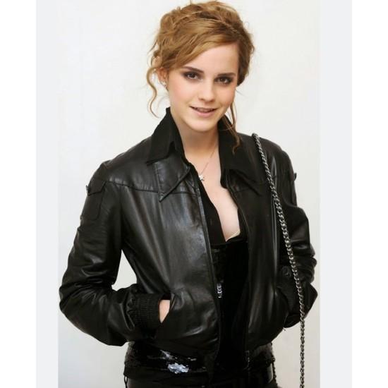 Emma Watson Shirt Style Black Leather Jacket