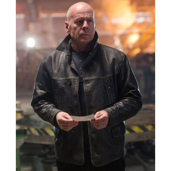 Extraction Film Bruce Willis Black Leather Jacket
