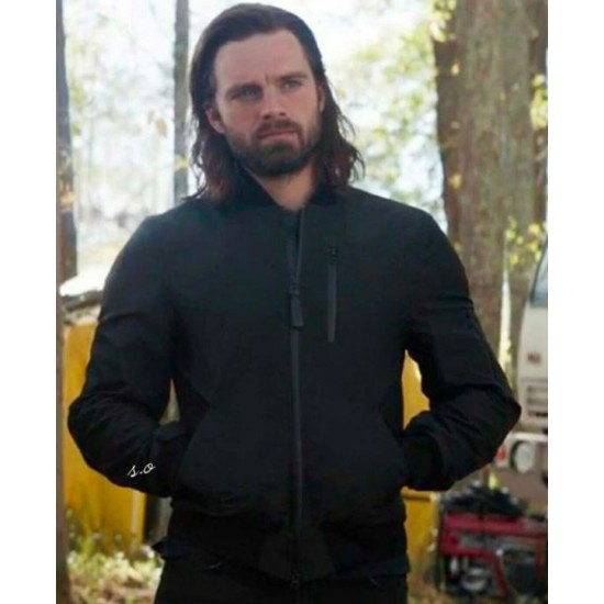 The Falcon and The Winter Soldier Sebastian Stan Bomber Black Jacket