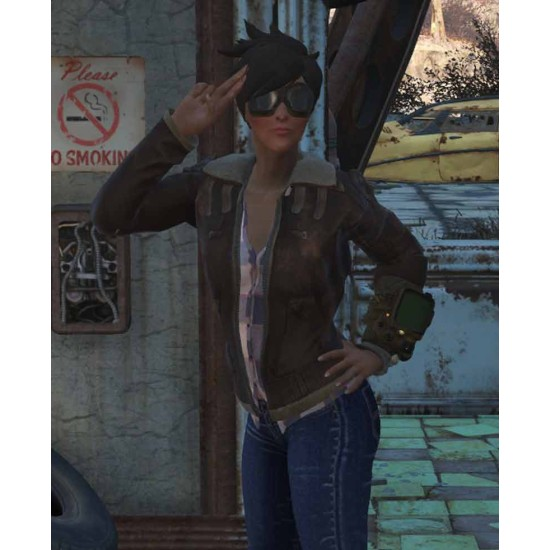 Fallout 76 Tracer Brown Leather Jacket