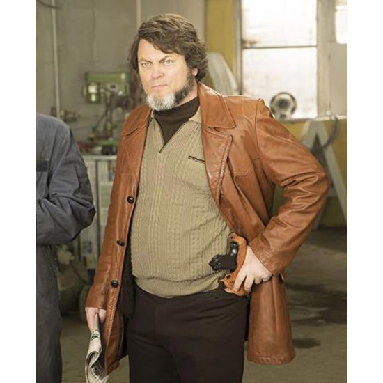 Fargo Nick Offerman Brown Leather Coat