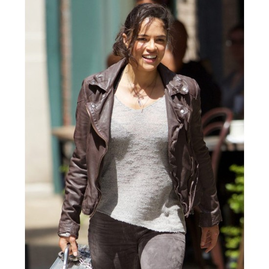 Fast and Furious 8 Michelle Rodriguez Brown Leather Jacket