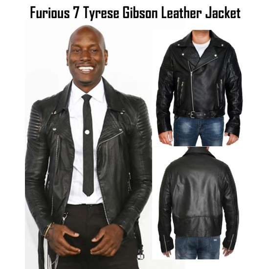 Fast and Furious 7 Premiere Tyrese Gibson Biker Style Leather Jacket