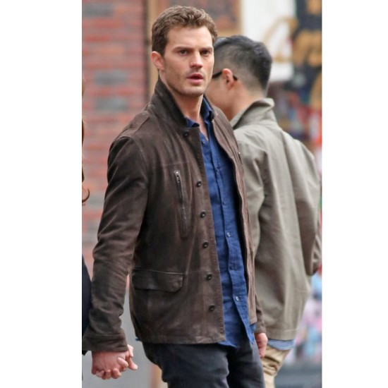 Fifty Shades Darker Movie Christian Grey Brown Leather Jacket