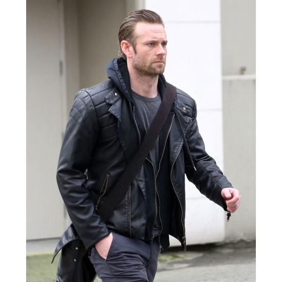 Fifty Shades Darker Eric Johnson Leather Jacket with Hoodie