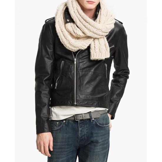 Christian Grey Fifty Shades of Grey Asymmetrical Leather Jacket