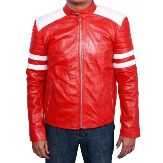 Fight Club Movie Brad Pitt Motorcycle Leather Jacket