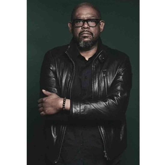 Forest Whitaker Snap Tab Collar Leather Jacket