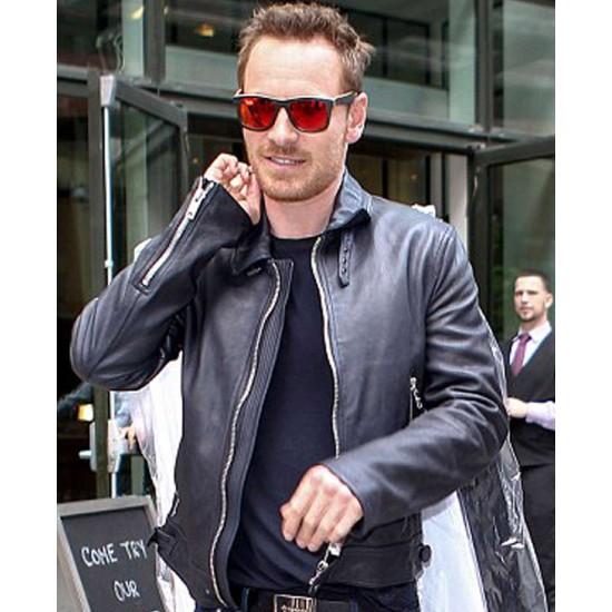 Frank Movie Michael Fassbender Black Leather Jacket