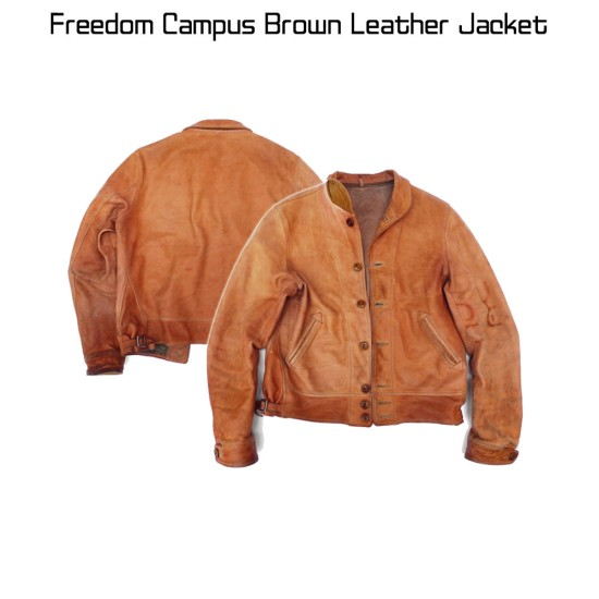 Freedom Campus Tan Brown Leather Jacket