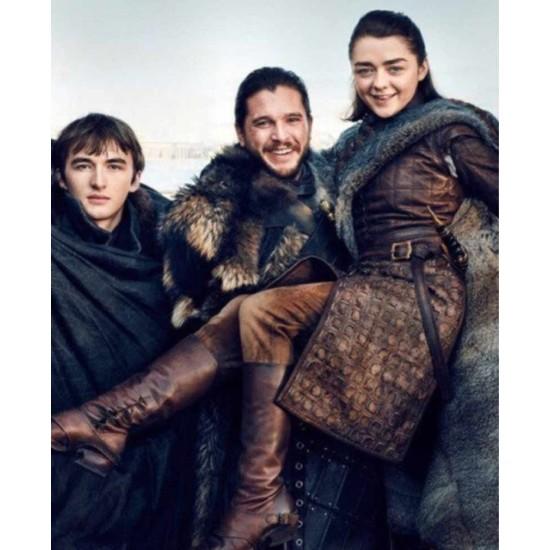 Game of Thrones Season 8 Arya Stark Leather Coat