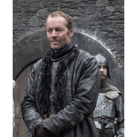 Game of Thrones Winterfell Iain Glen Black Leather Coat