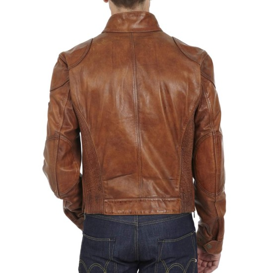Men's Gangster Brown Leather Motorcycle Jacket