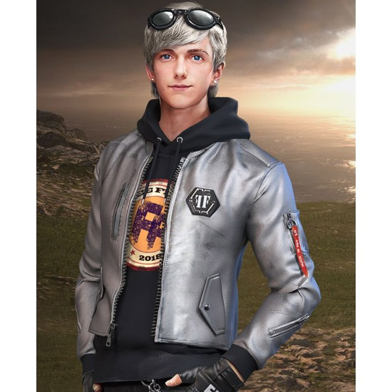 Garena Free Fire Maxim Biker Sliver Jacket
