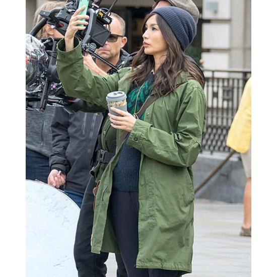 Gemma Chan Eternals Green Coat