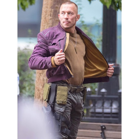 Georges St Pierre Falcon and Winter Soldier Purple Cotton Jacket