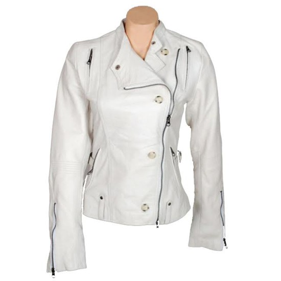 Get Smart Anne Hathaway Asymmetrical White Leather Jacket
