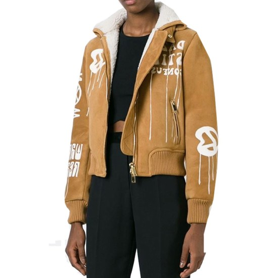 Gigi Hadid Bomber Brown Suede Leather Jacket