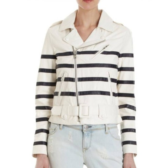 Global Citizen Katie Holmes Striped Leather Jacket