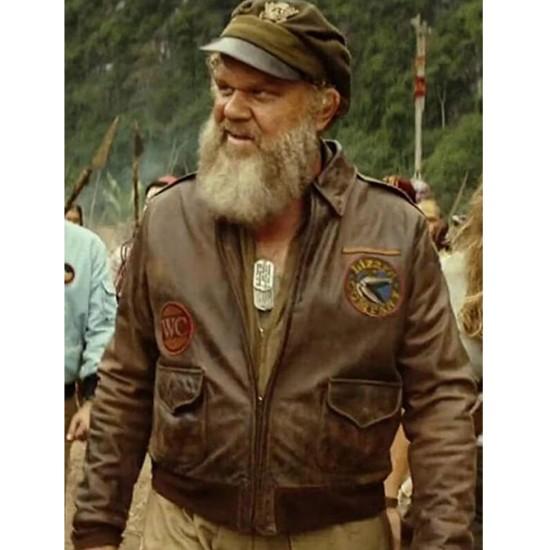 Kong Skull 21st Fighter Brown Leather Jacket