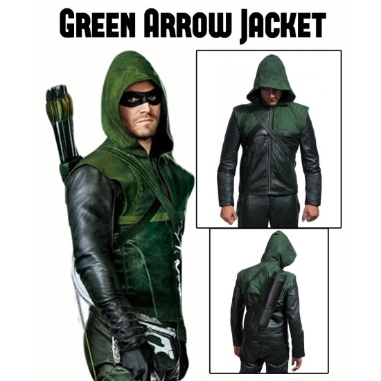 Stephen Amell Green Arrow Leather Jacket with Hoodie