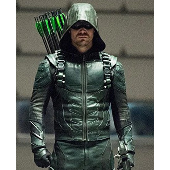 Stephen Amell Green Arrow Seasons 5 Leather Jacket