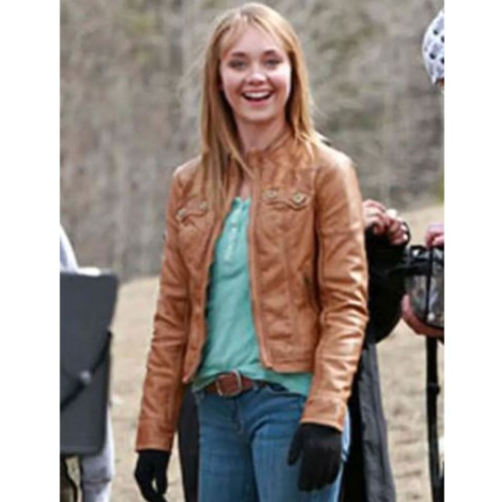 Amber Marshall Heartland Tan Brown Leather Jacket