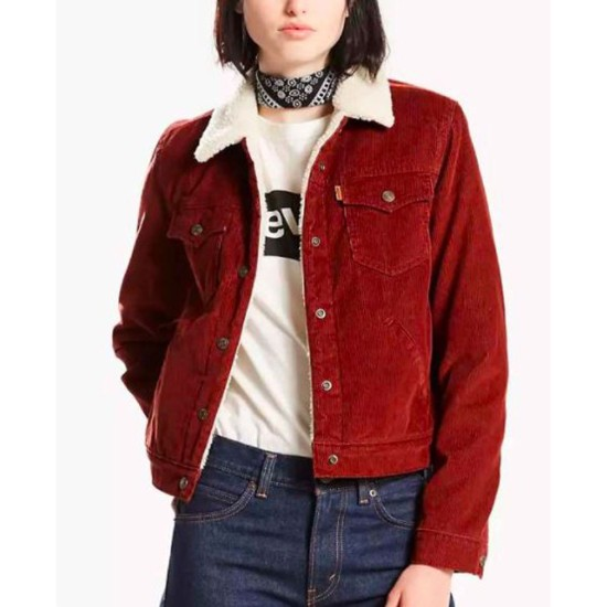 Amber Marshall Heartland Burgundy Shearling Jacket