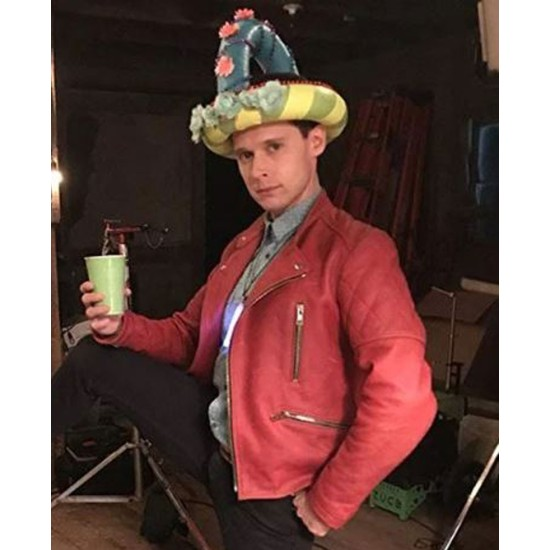Dirk Gently's Motorcycle Red Leather Jacket
