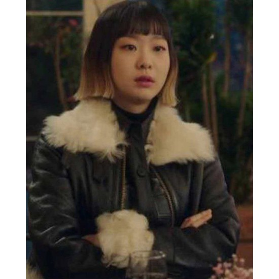 Kim Da-Mi Itaewon Class Shearling Leather Jacket with Fur Collar