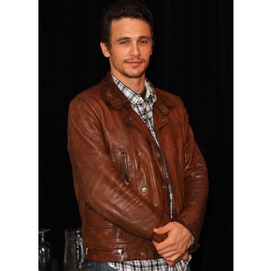 James Franco Motorcycle Distressed Brown Leather Jacket
