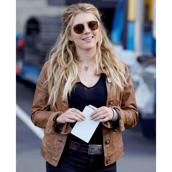 Big Sky Katheryn Winnick Waxed Brown Leather Jacket
