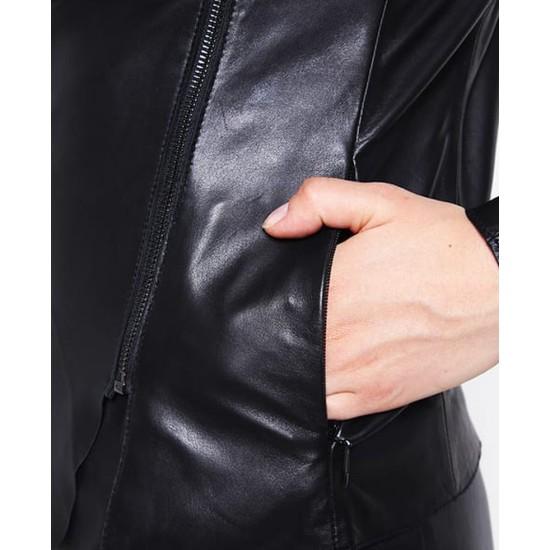 Women's Kansas Collarless Black Leather Jacket