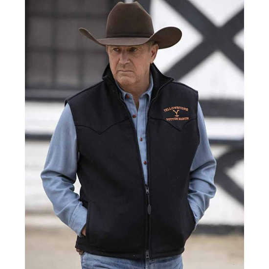 Kevin Costner Yellowstone Black Wool Vest