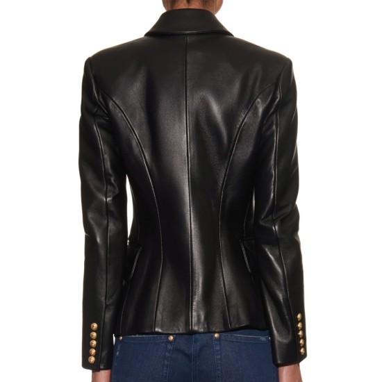 Kim Kardashian Double Breasted Black Leather Blazer Style Jacket