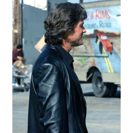 Eldon Perry Dark Blue Kurt Russell Leather Jacket