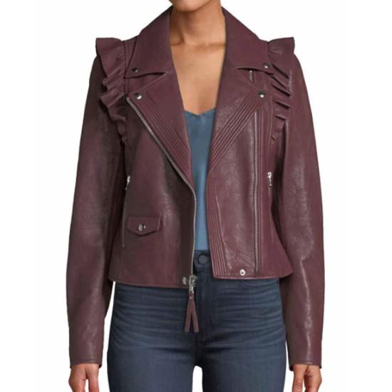Last Man Standing Krista Marie Yu Burgundy Leather Jacket