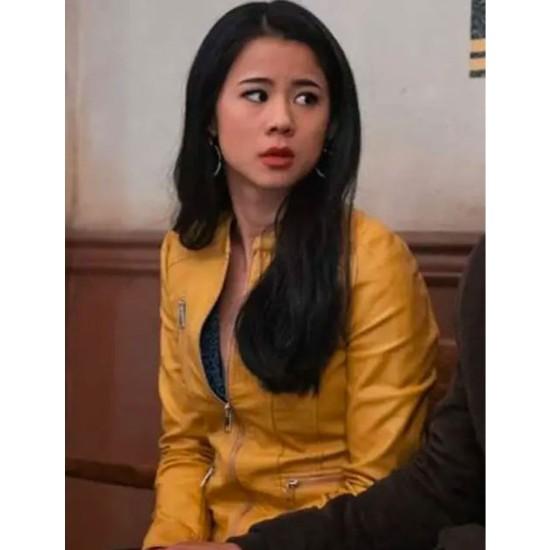 Leah Lewis Nancy Drew Fan Yellow Leather Jacket