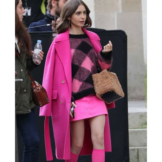 Emily in Paris Lily Collins Double Breasted Wool Coat