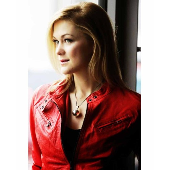 Slim Fit Style Linda Hasse Red Leather Jacket