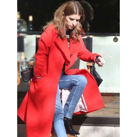 Anna Kendrick Love Life Red Wool Coat