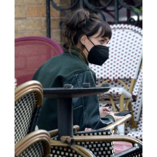 Am I Ok Dakota Johnson Varsity Green Jacket