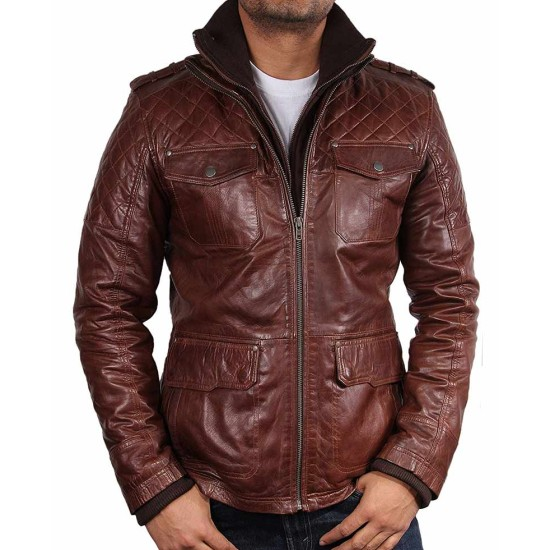 Men's Double Collar Four Pocket Brown Leather Jacket