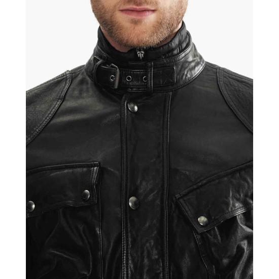 Men's Belted Collar 4 Pockets Leather Jacket